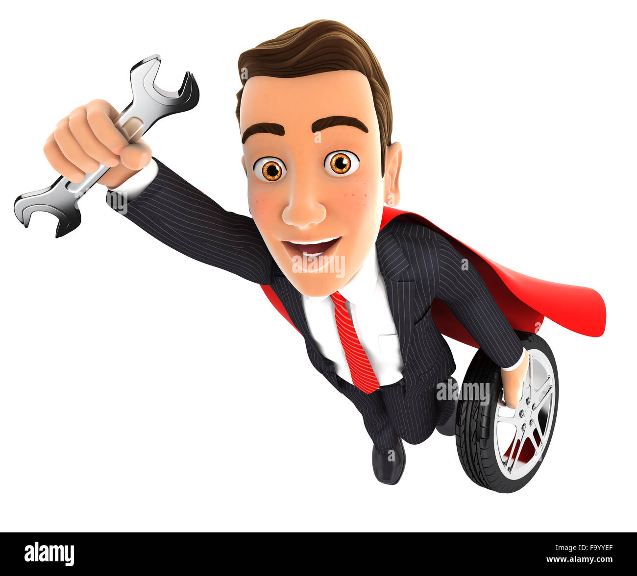 3d mechanic superhero with wrench and tyre, isolated white background Stock Photo