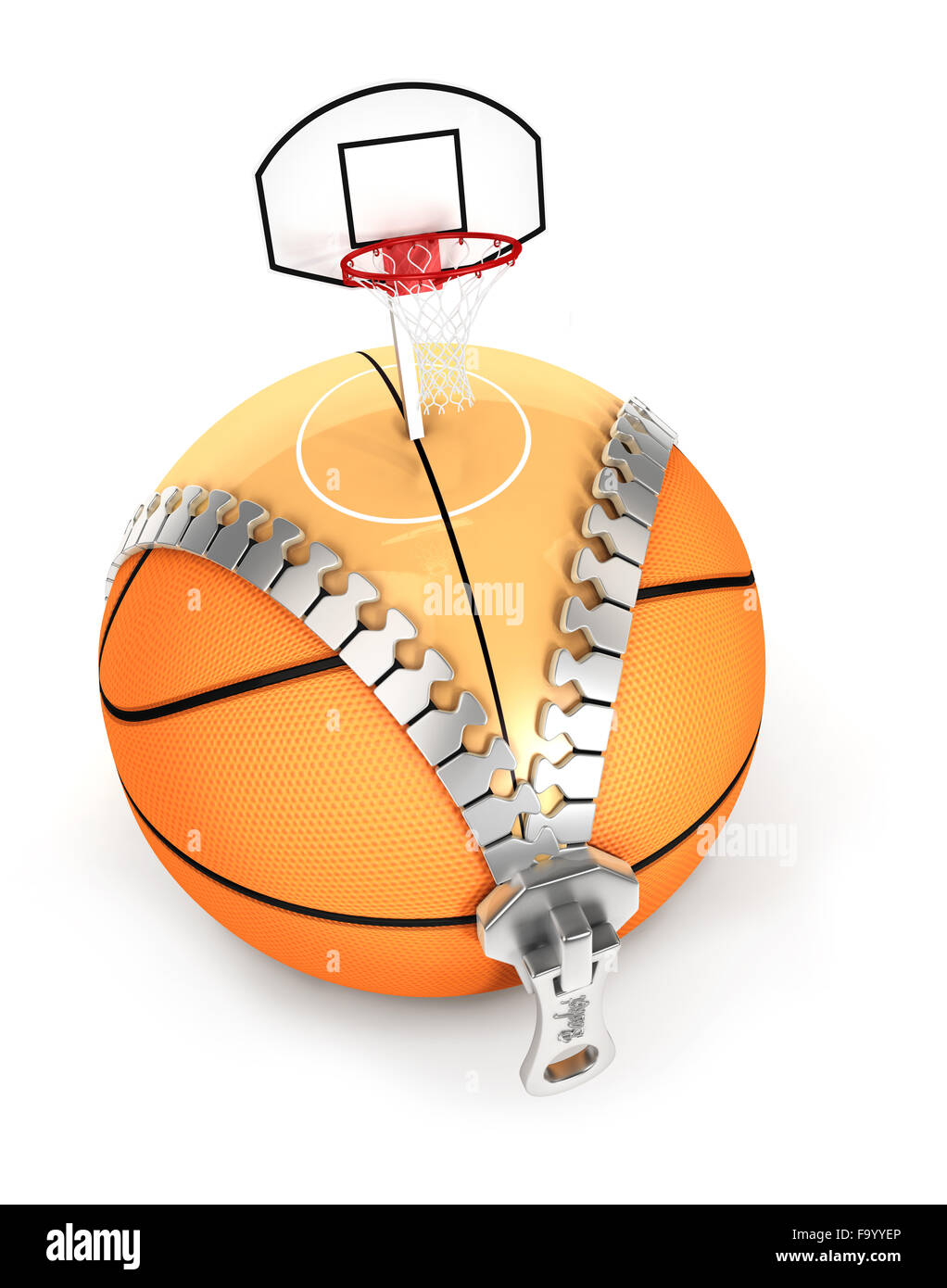 3d unzip basket ball concept, isolated white background Stock Photo