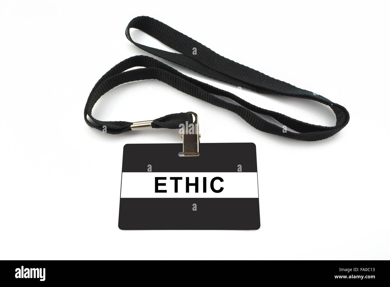 ethic badge with strip isolated on white background - Stock Image