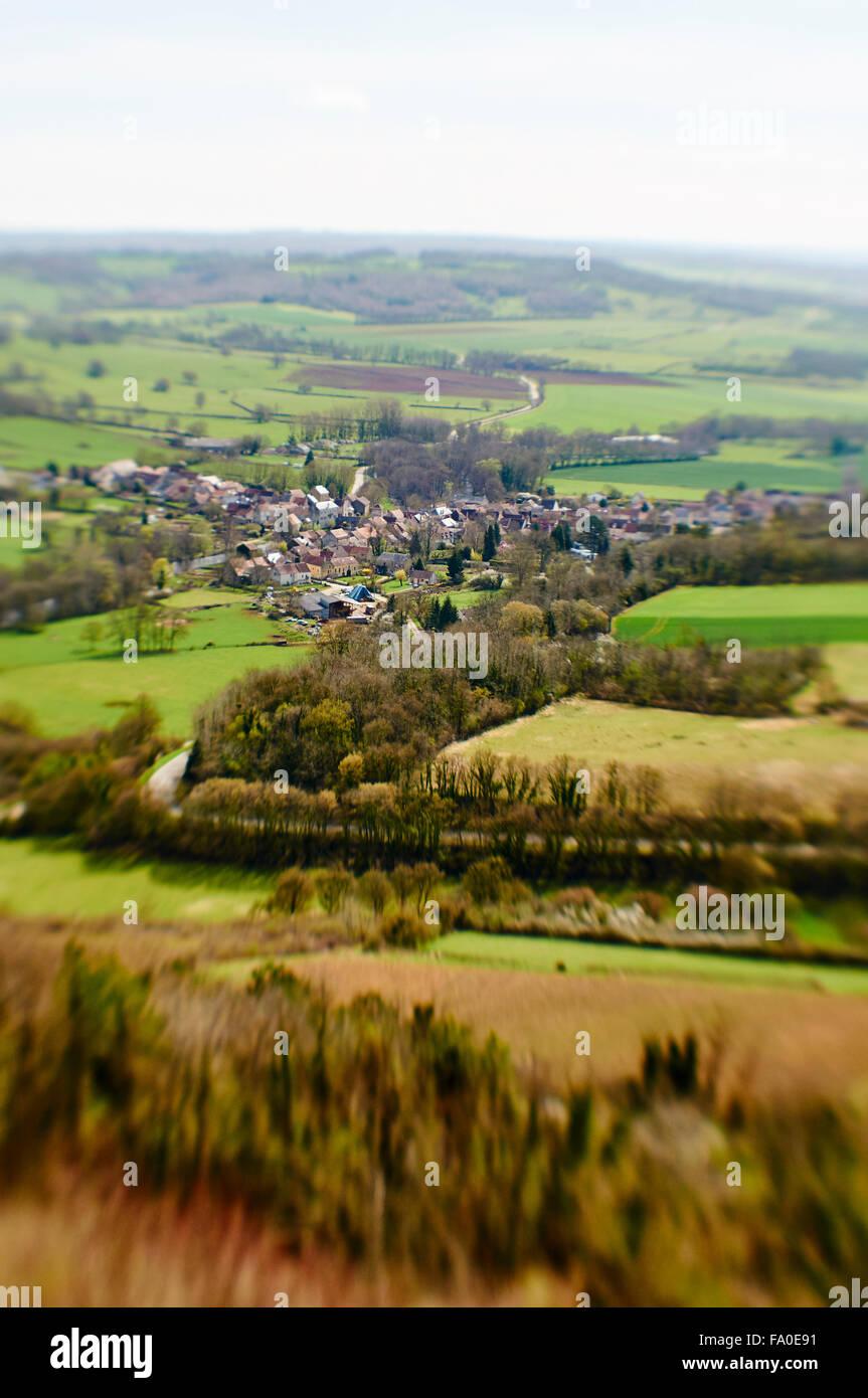 Village of Saint-Père in France (Burgundy) with tilt-shift effect. - Stock Image