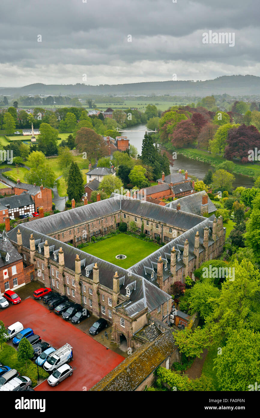 Hereford; View from Cathedral Tower; River Wye; UK - Stock Image