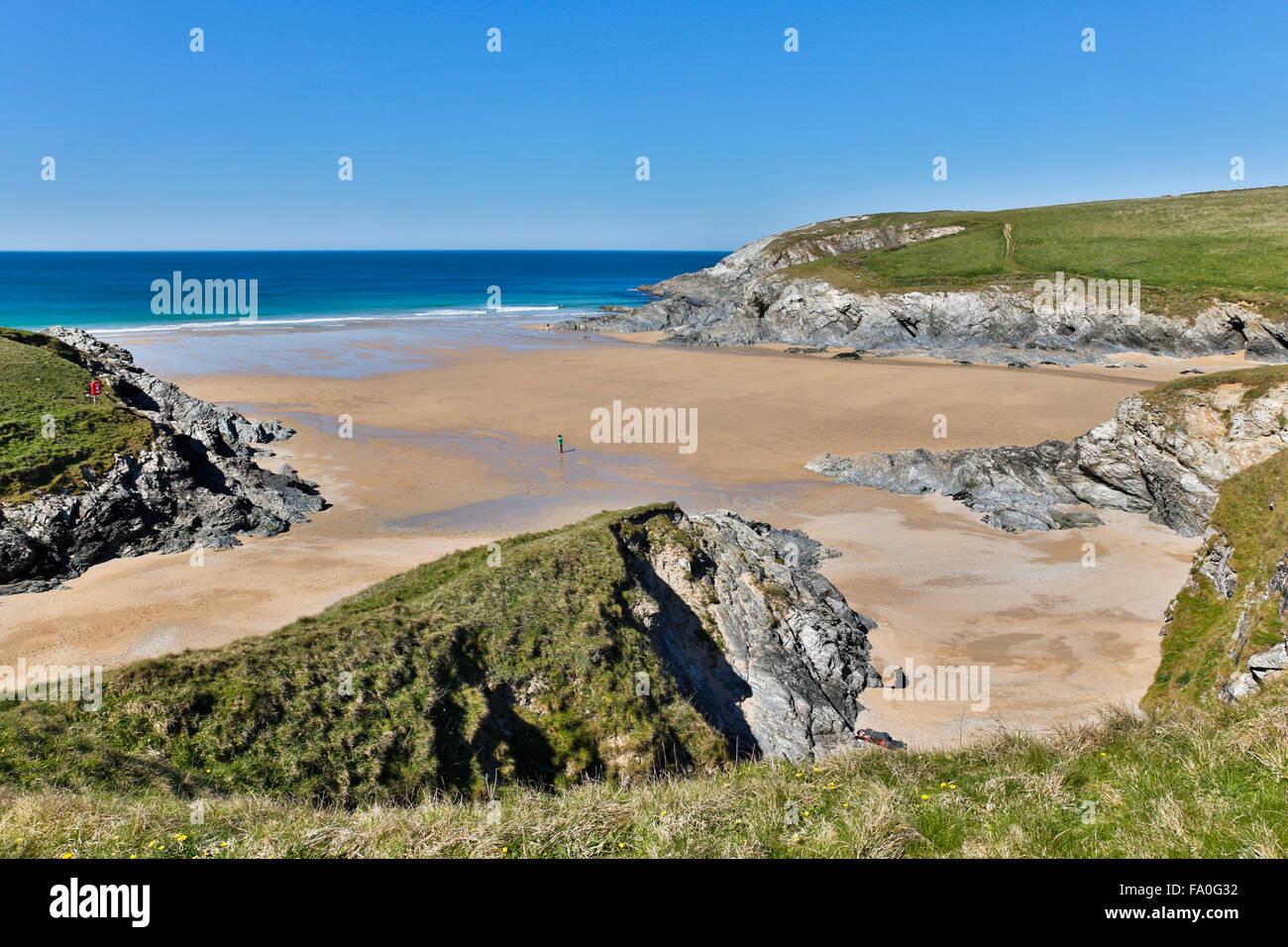 Polly Joke; Beach; Cornwall; UK - Stock Image