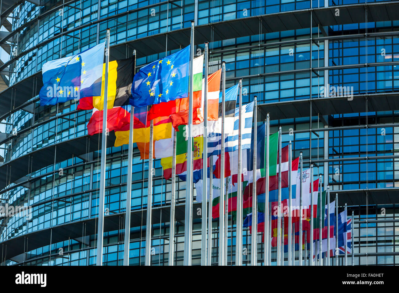 Building of the European Parliament in Strasbourg, Alsace, France, Stock Photo
