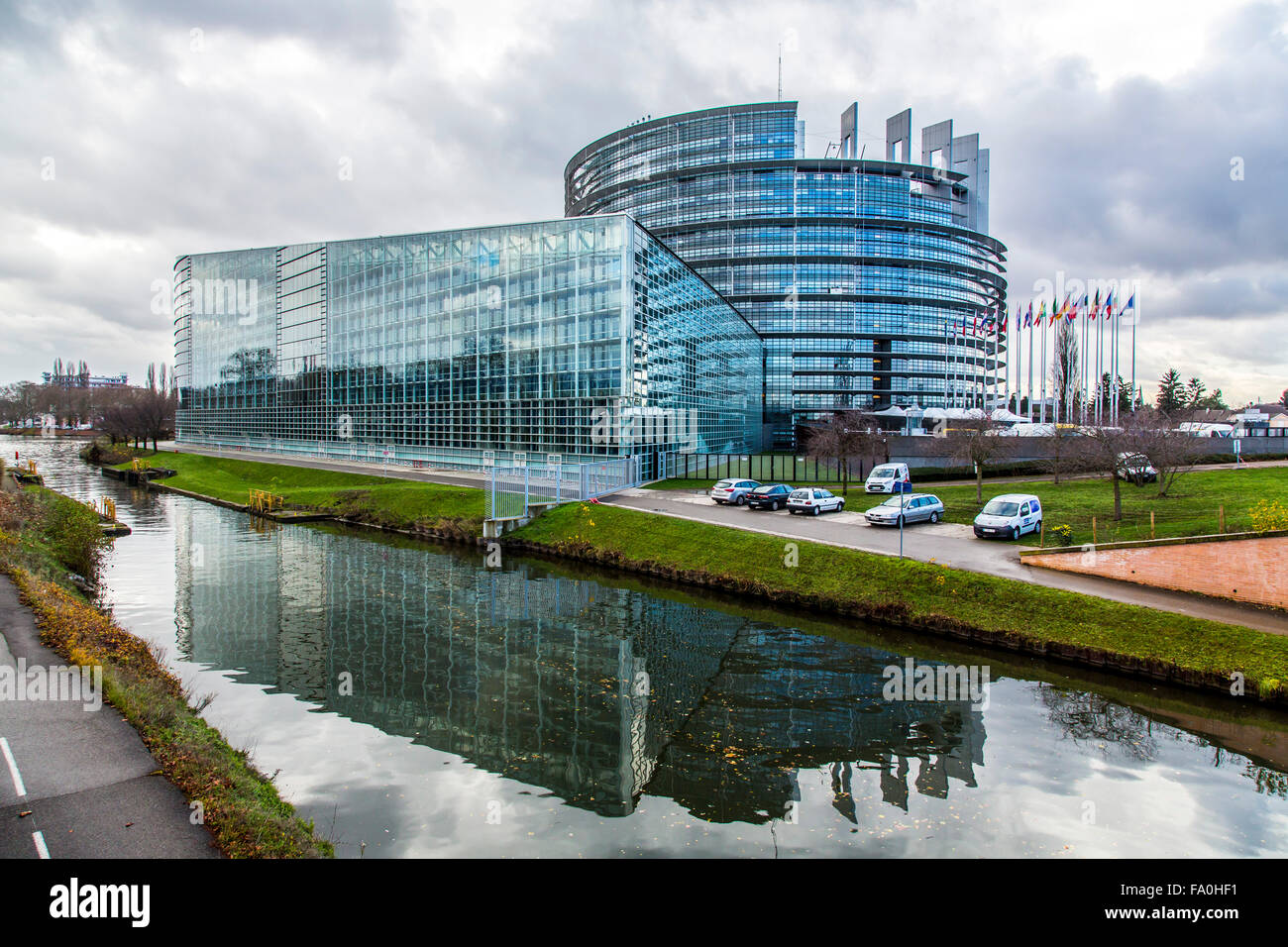 Building of the European Parliament in Strasbourg, Alsace, France, - Stock Image