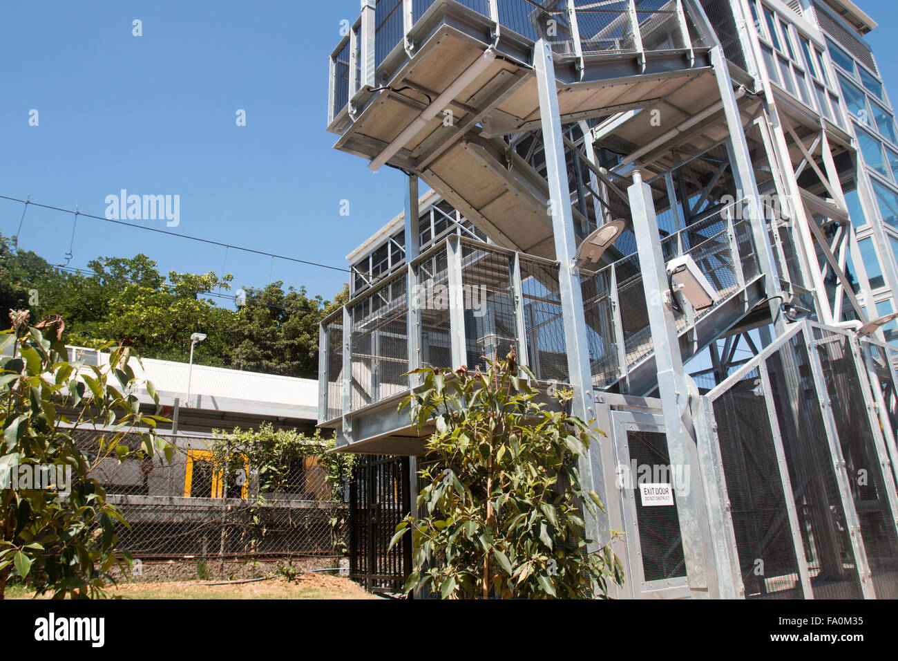 lift structure at a Sydney train station to allow disabled access to the platforms,australia Stock Photo
