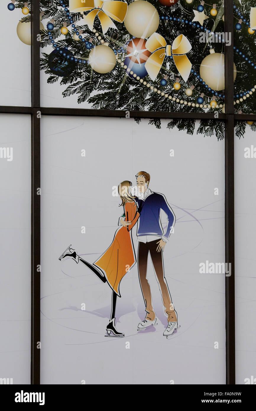 Ice skating at Christmas Decorations Stock Photo: 92215141 - Alamy