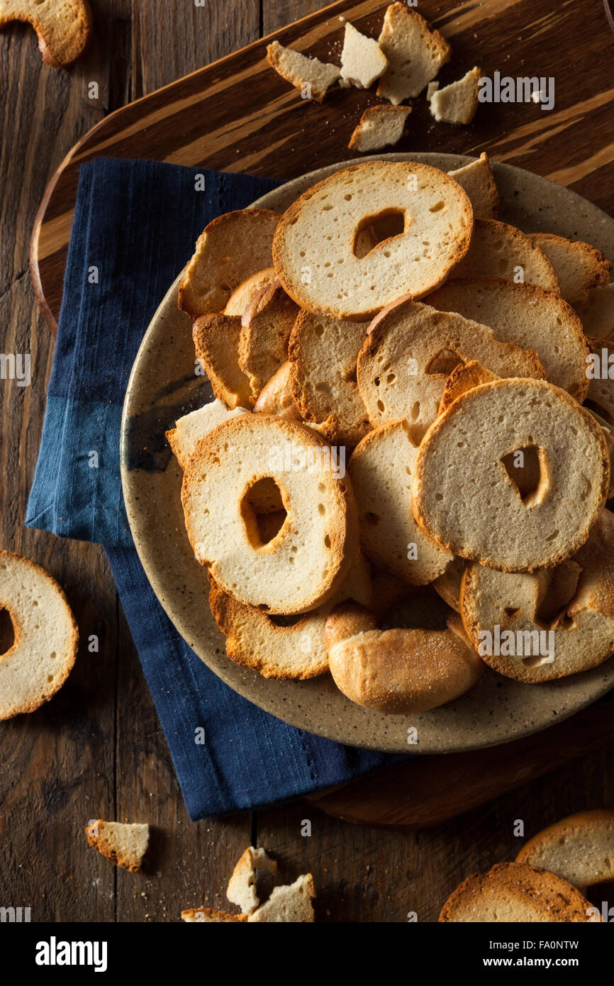 Homemade Whole Wheat Bagel Chips on a Plate - Stock Image