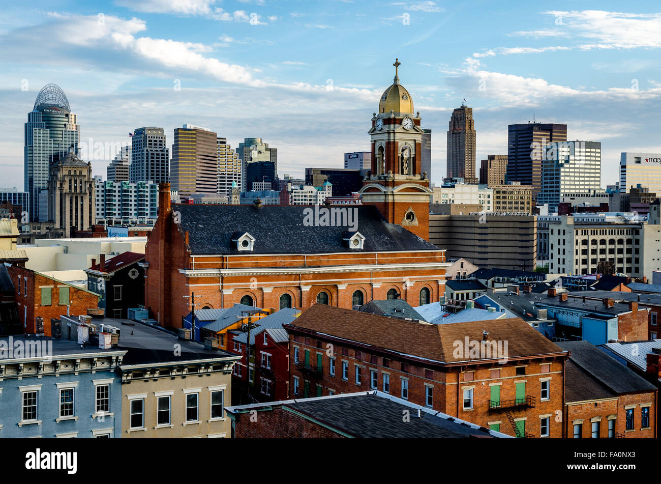 View of Cincinnati skyline  from Over The Rhine district. Stock Photo