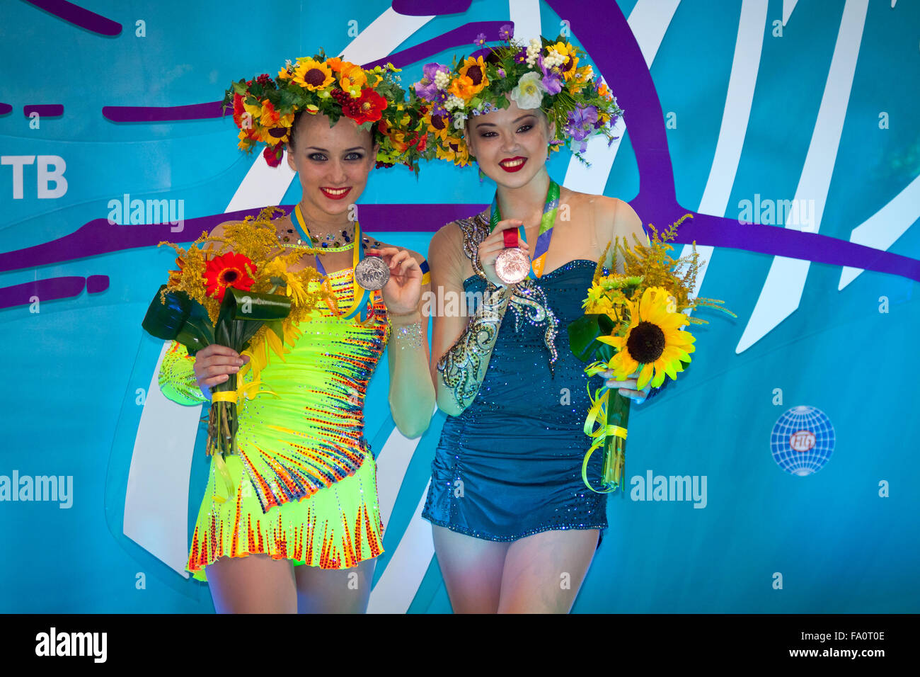 KYIV, UKRAINE - AUGUST 29, 2013: Ganna Rizatdinova (L) and Alina Maksymenko of Ukraine - medallists of 32nd Rhythmic - Stock Image
