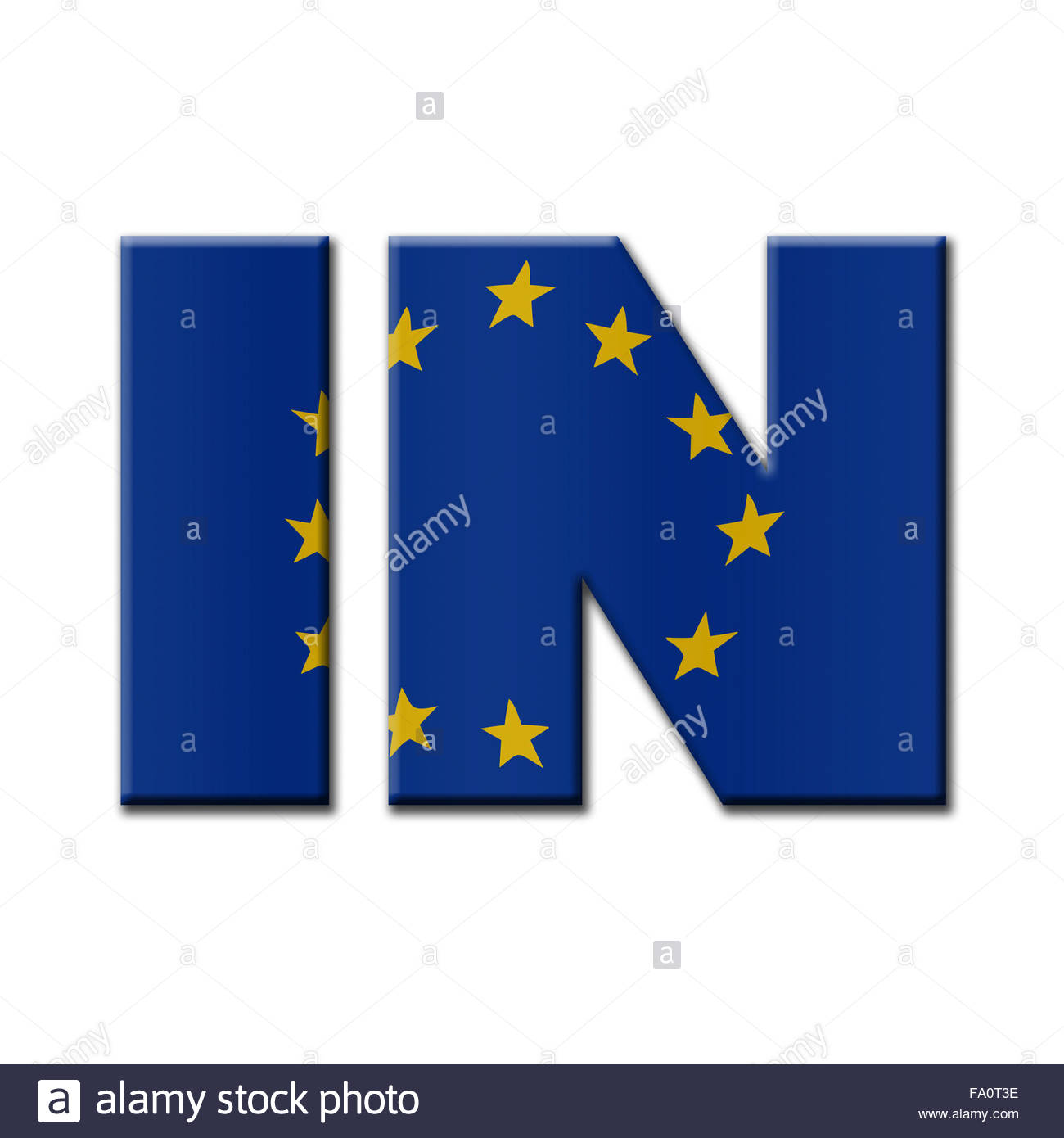 Digital Illustration - British In/Out EU referendum. IN with European Union flag. - Stock Image