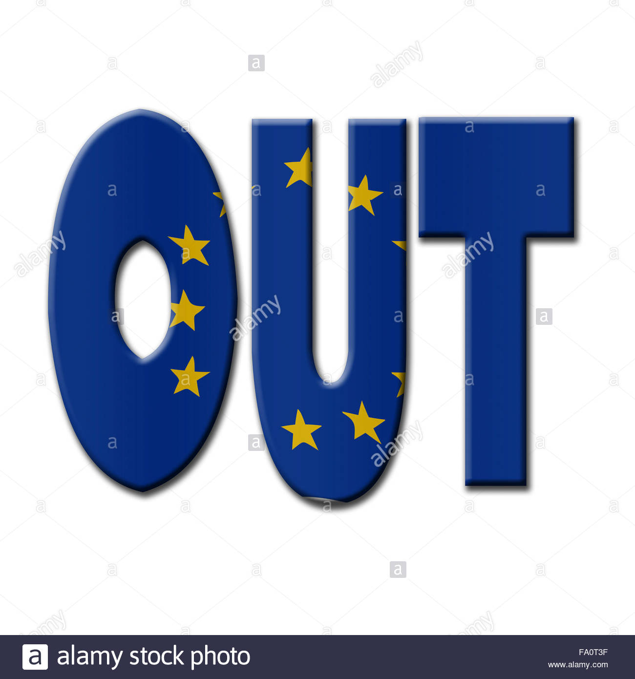 Digital Illustration - British In/Out EU referendum.  OUT with European Union flag. - Stock Image