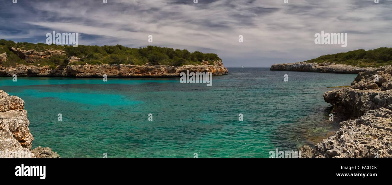 Panorama of Cala Sa Nau, Mallorca, Baleares, Spain - Stock Image