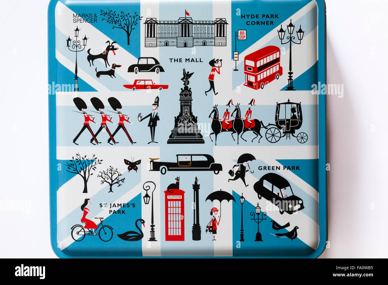 Marks & Spencer Decorative biscuit tin on London themes isolated on white background - Stock Image