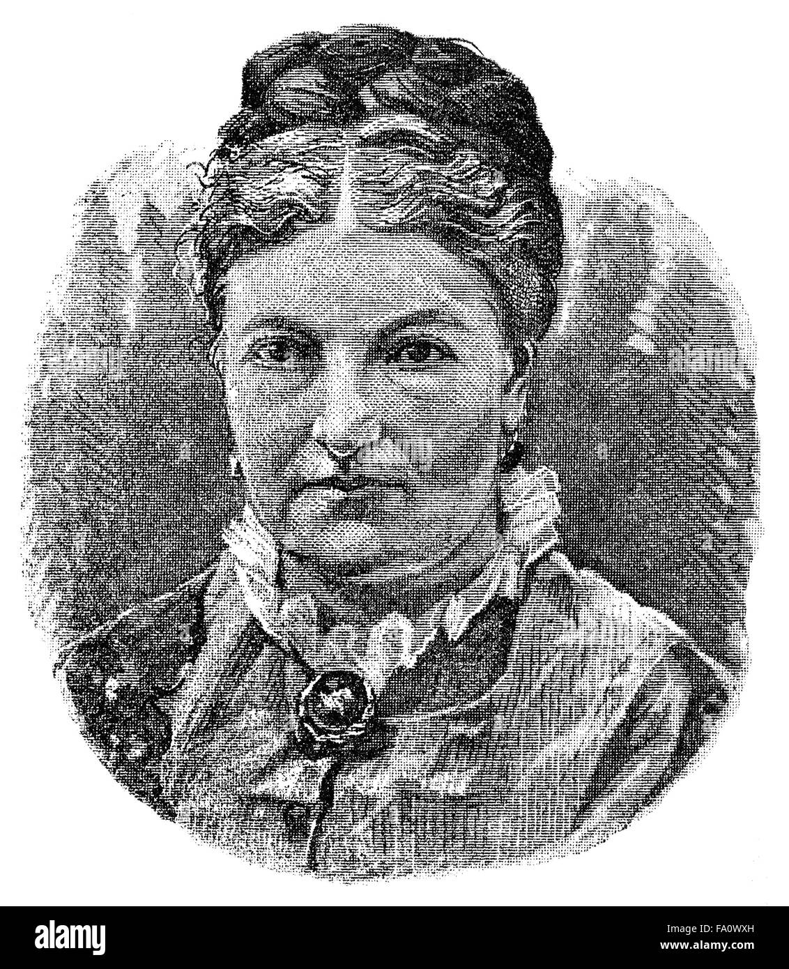 Marie Calm, pseudonym Marie Ruhland, 1832-1887, a German author, feminist and advocate of women's suffrag,Stock Photo