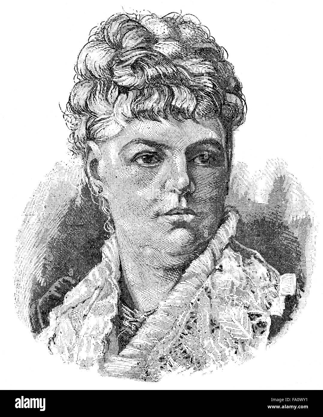 Wilhelmine von Hillern, 1836-1916, a German actress and novelist, Die Geyer-Wally, - Stock Image