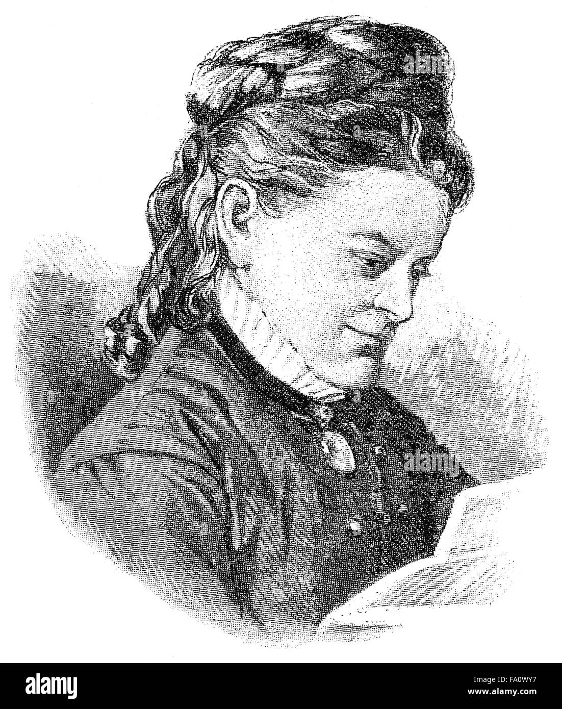 Ottilie Bach, pseudonyms O. Bach and Otto Ulrichs, 1836-1905, a German writer, - Stock Image