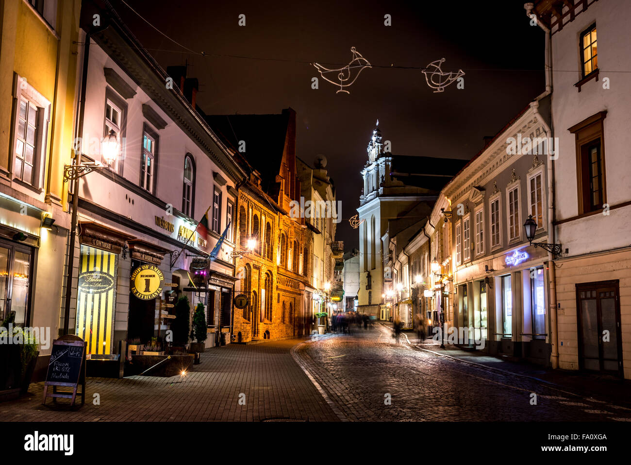 Night Street in Vilnius, Lithuania - Stock Image