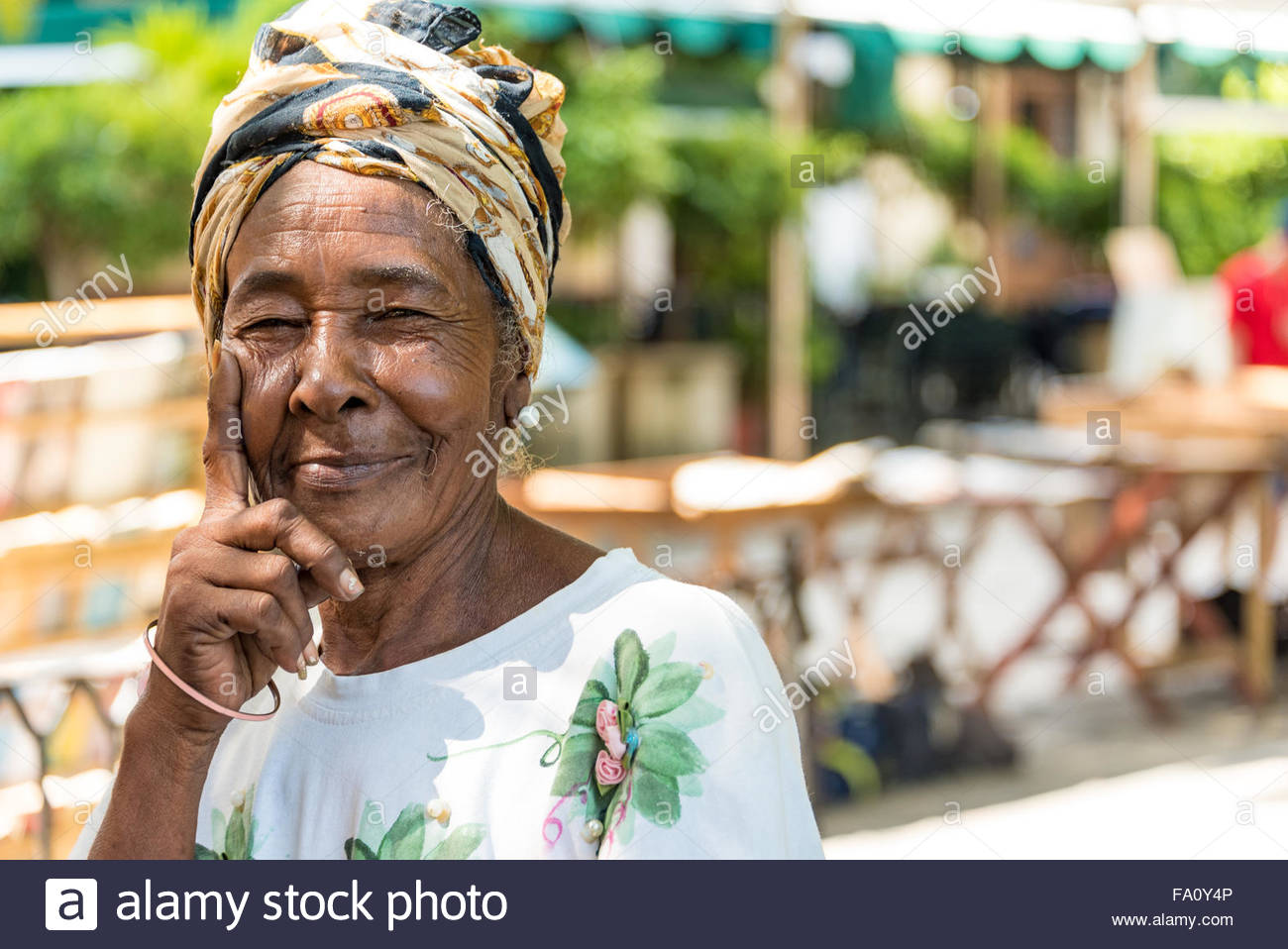 Caribbean People: Cuban Flower Lady Stock Photos & Cuban Flower Lady Stock