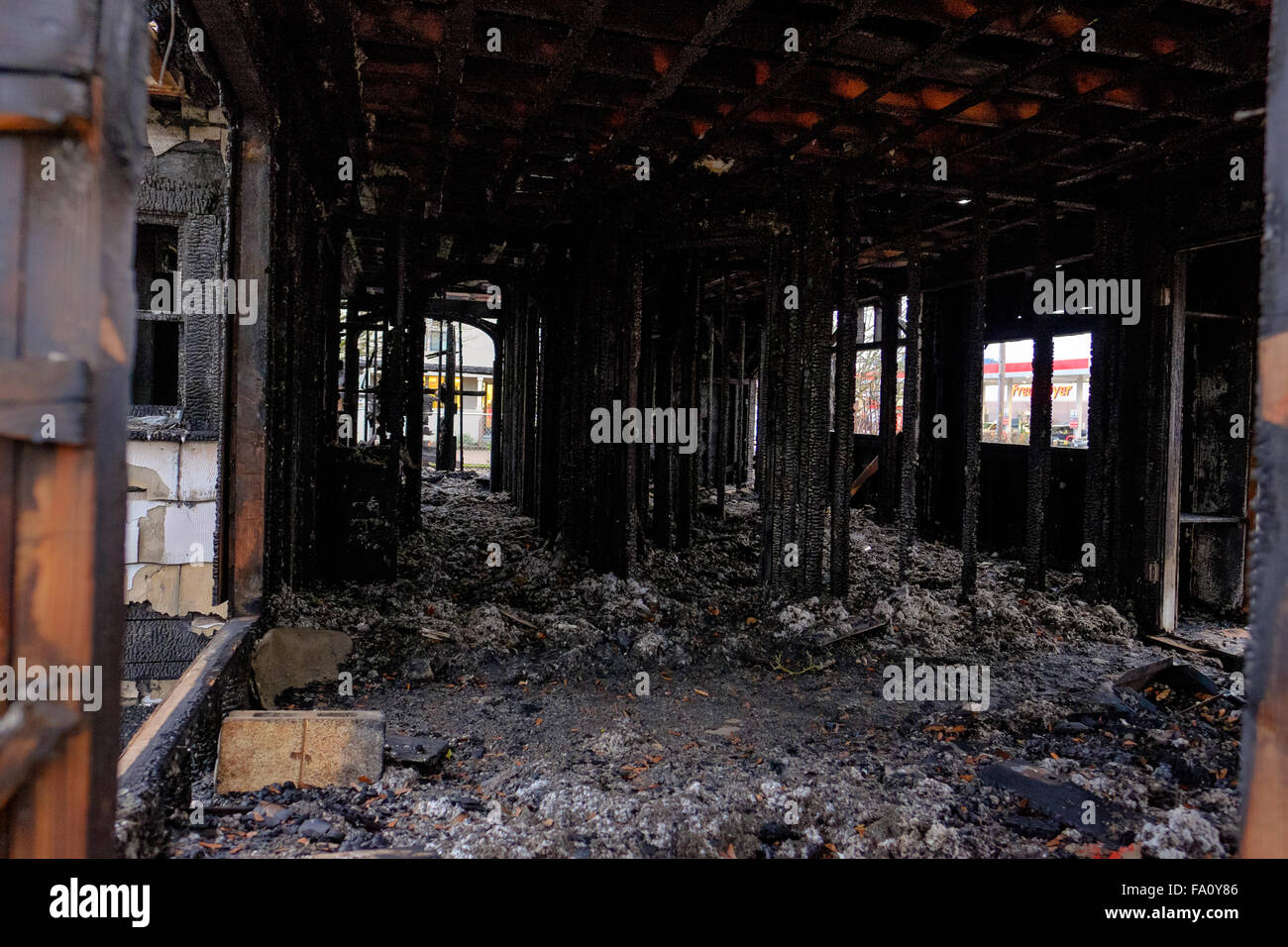 House burned almost completely in a major fire leaving only the damaged remains of this home. - Stock Image
