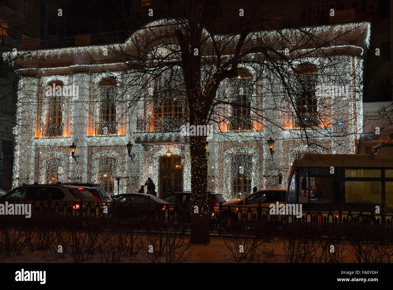 the house decorated with Christmas illumination - Stock Image
