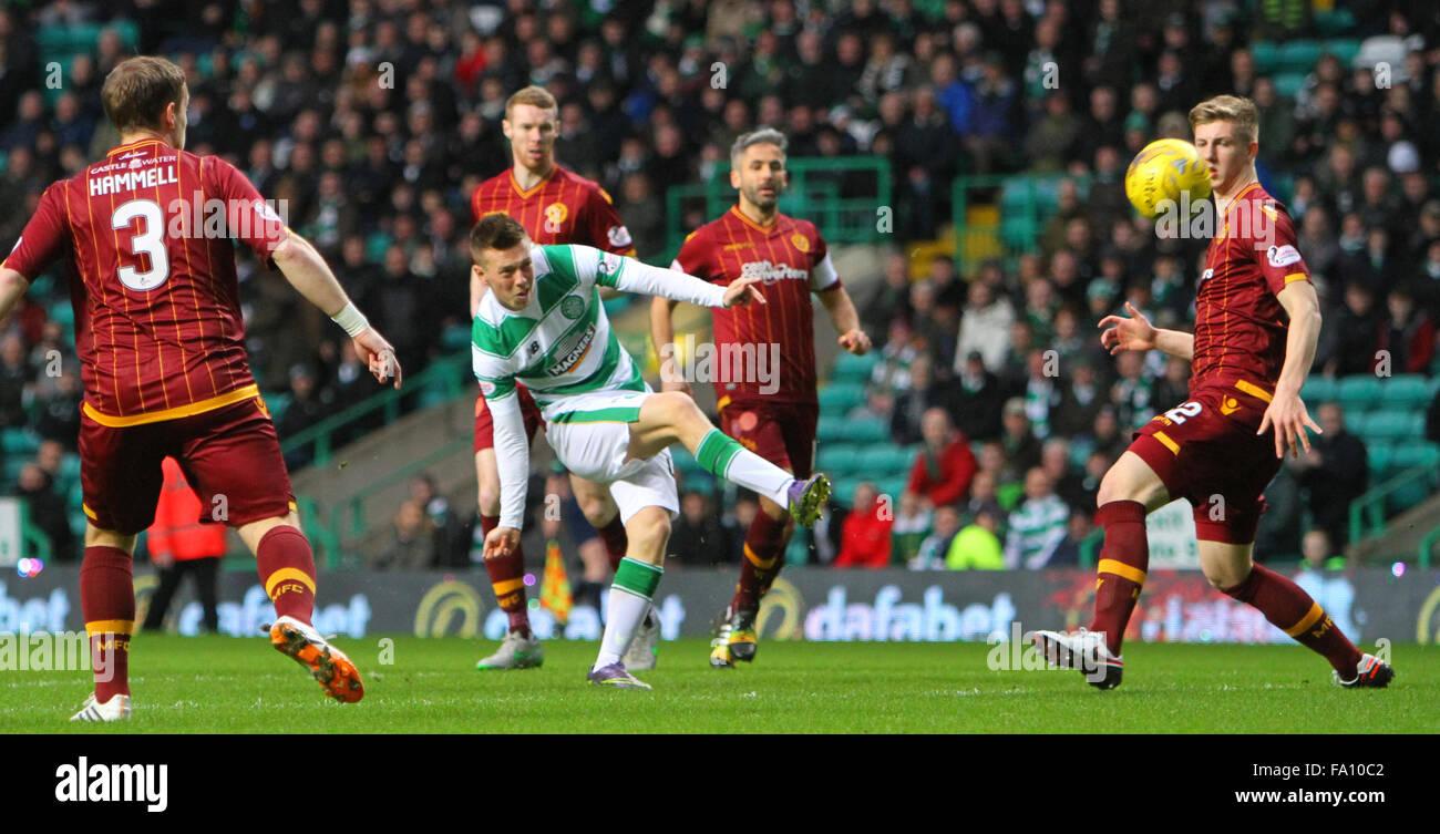 Celtic Park, Glasgow, Scotland. 19th Dec, 2015. Scottish Premier League. Celtic versus Motherwell. Callum McGregor - Stock Image