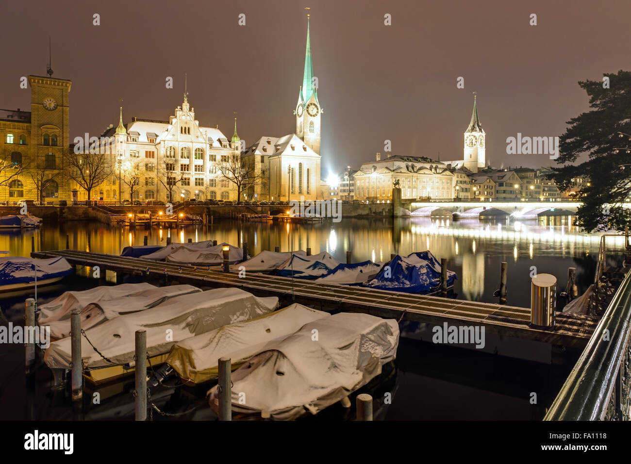 Zurich and the Limmat river on a winter night - Stock Image