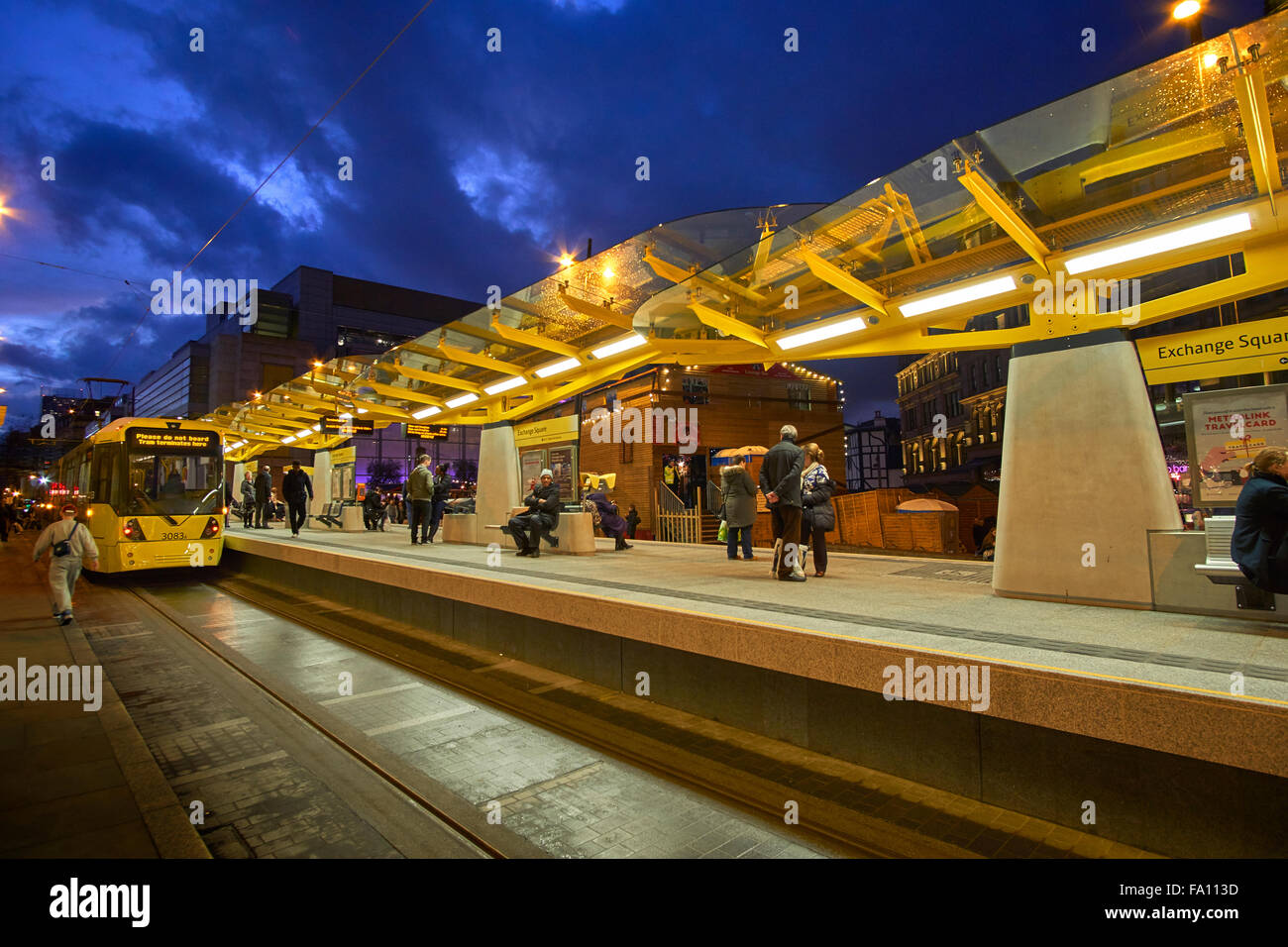 Manchester Metrolink Tram station at Corporation Street, Exchange Square, Manchester, Greater Manchester, England - Stock Image