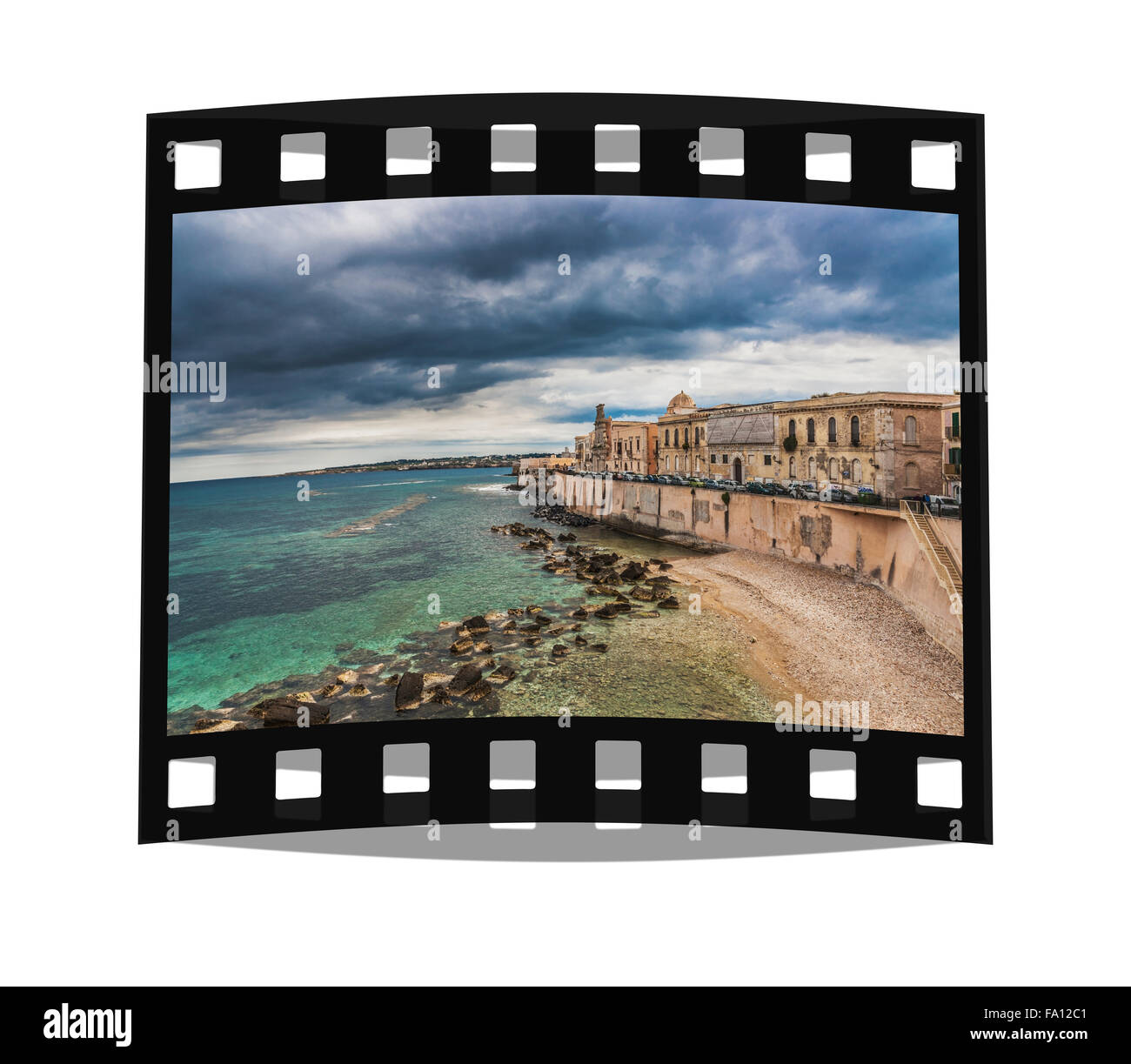 Seafront Promenade in the historic center of Syracuse. The old town is located on Ortigia Island, Sicily, Italy, - Stock Image