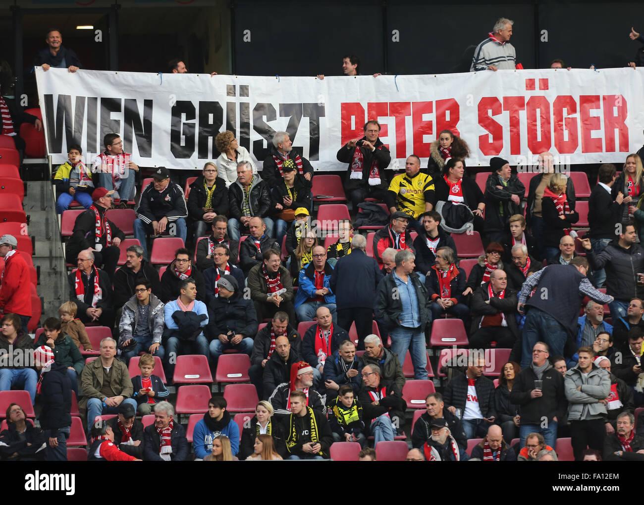 Fussball, 1. Bundesliga, matchday 17, 1. FC Koeln vs Borussia Dortmund, Koeln, 19.12.2015: A banner reads ' - Stock Image