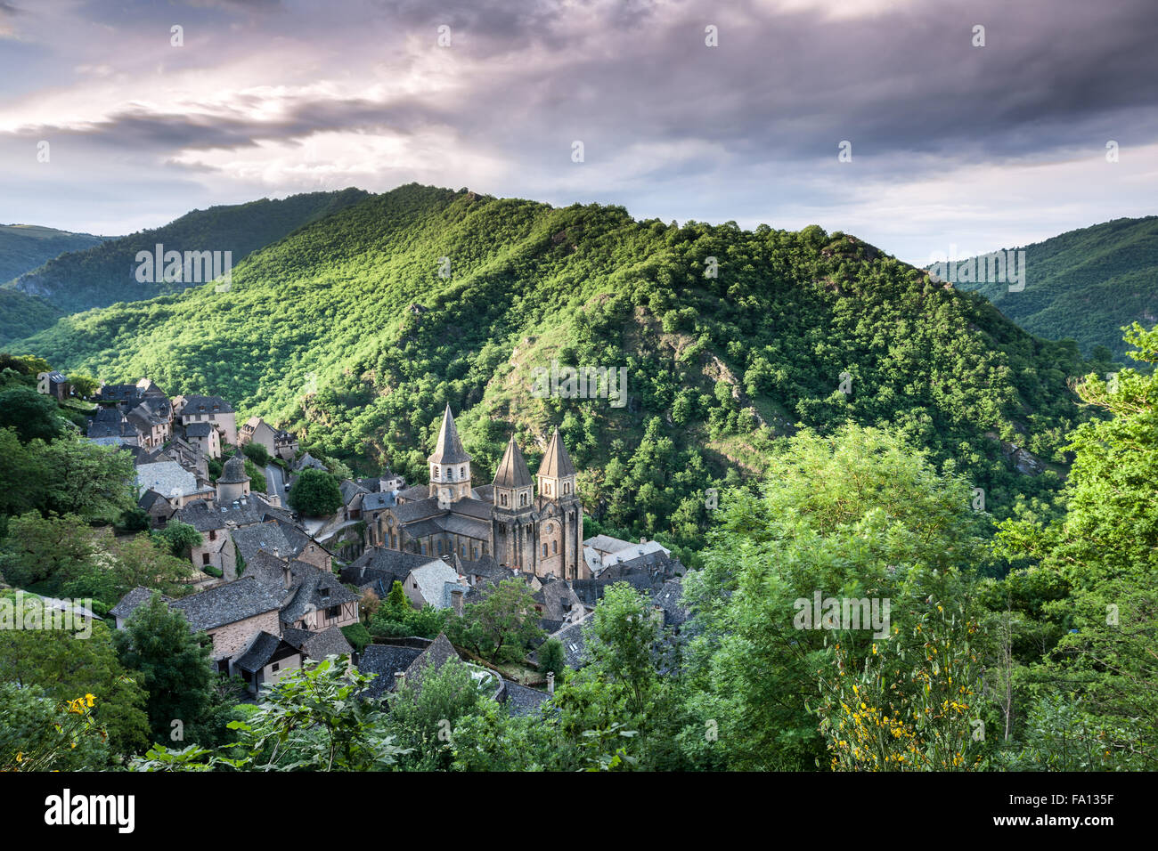 The village of Conques France at sunrise - Stock Image