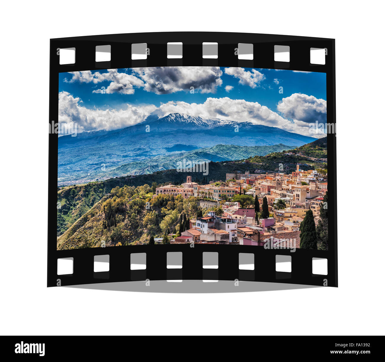View on the town Taormina and Mount Etna, Province Messina, Sicily, Italy, Europe - Stock Image