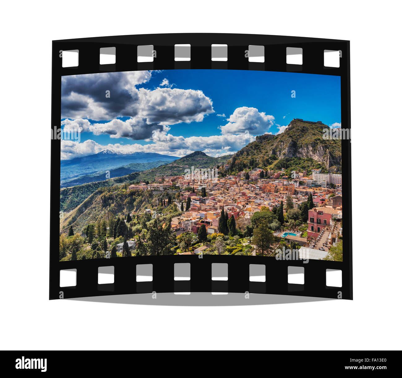 View on the town Taormina, Monte Tauro and Mount Etna, Province Messina, Sicily, Italy, Europe - Stock Image