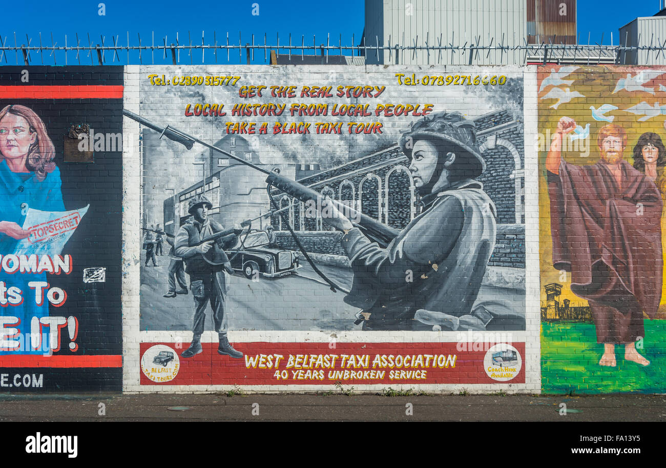 West Belfast Taxi Association Mural in West Belfast advertising political tours of the area - Stock Image