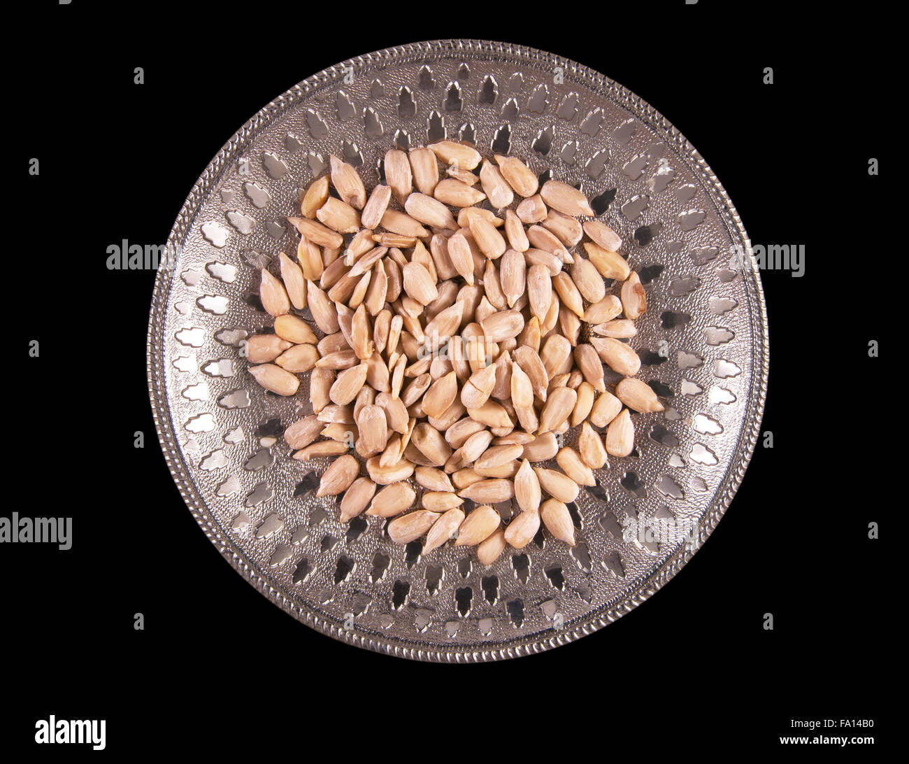 Sunflower seeds on the plate - Stock Image