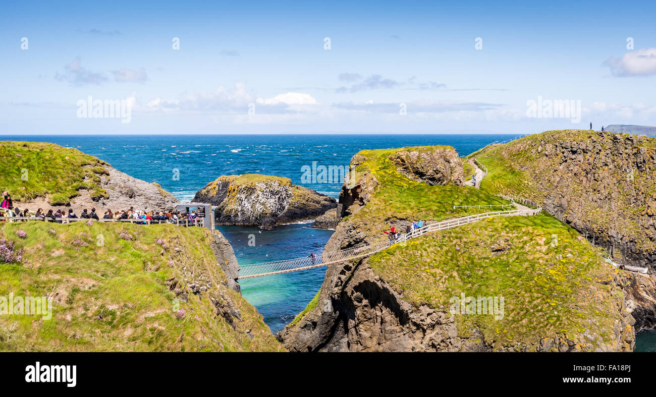 The Carrick-a-Rede Rope Bridge at Ireland's North Coast - Stock Image