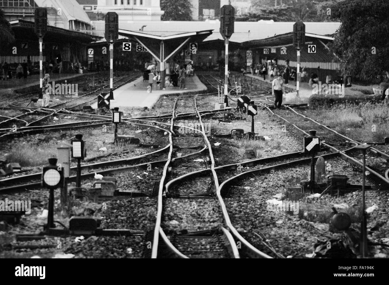 Railway Lines going in to Bangkok station - Stock Image