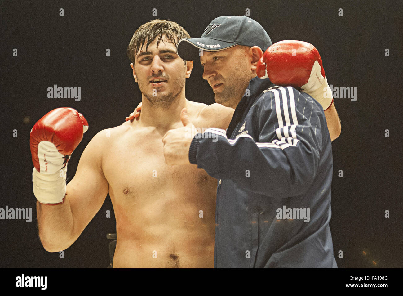 Moscow, Russia. 19th Dec, 2015. Artem Vahitov poses with his coach Vitaly Miller the Muay Thai Moscow match in Moscow, - Stock Image