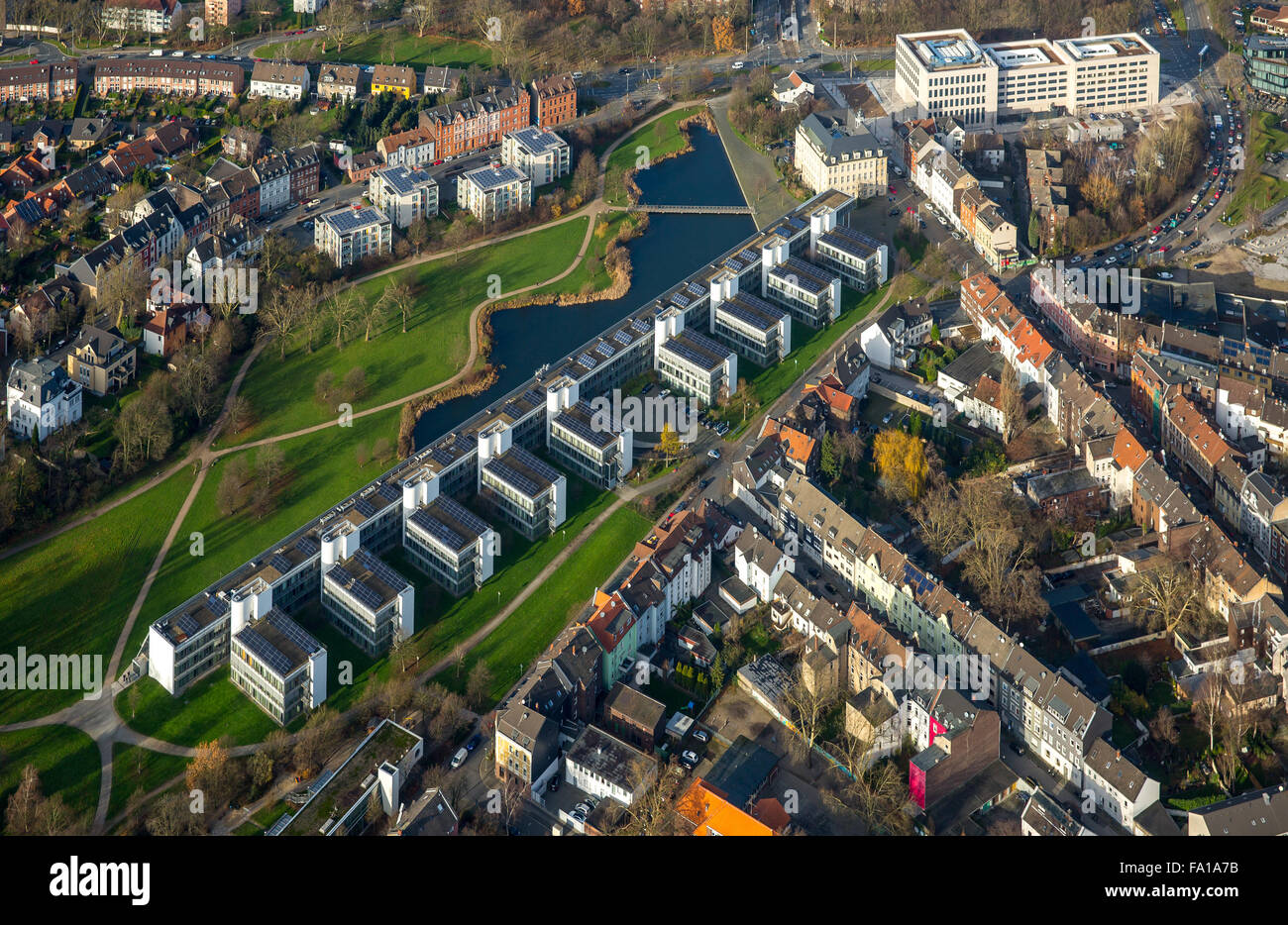 Aerial view, Rheinelbe Science Park, a project of the International Building Exhibition Emscher Park, solar power - Stock Image