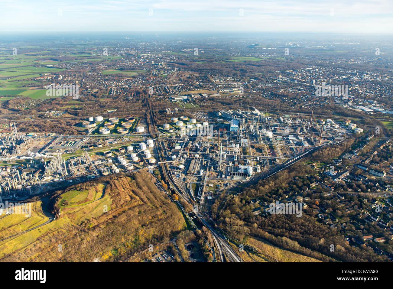 Aerial view, refinery BP Gelsenkirchen, Ruhr Oel GmbH Sabic