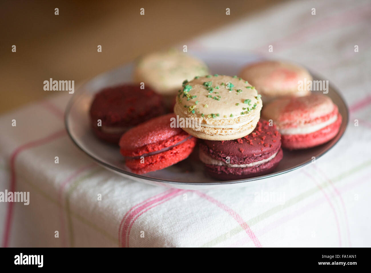 Christmas macarons - frosted cranberry, vanilla basil, mulled wine and candycane flavours on checked tablecloth - Stock Image