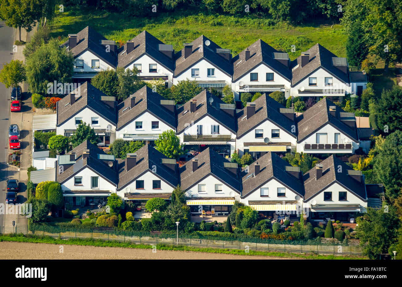 Row houses, home ownership, family houses, residential area, beautiful living on the southern Schützenstraße, - Stock Image