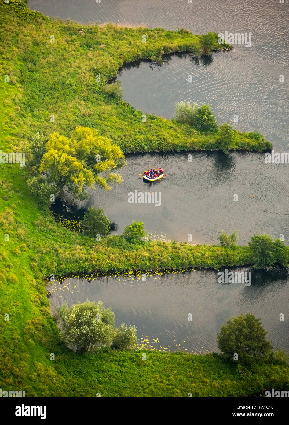 Paddling on the Ruhr between the protected natural breakwaters, Hattingen, Ruhr, Nordrhein-Westfalen, Germany, Europe, - Stock Image