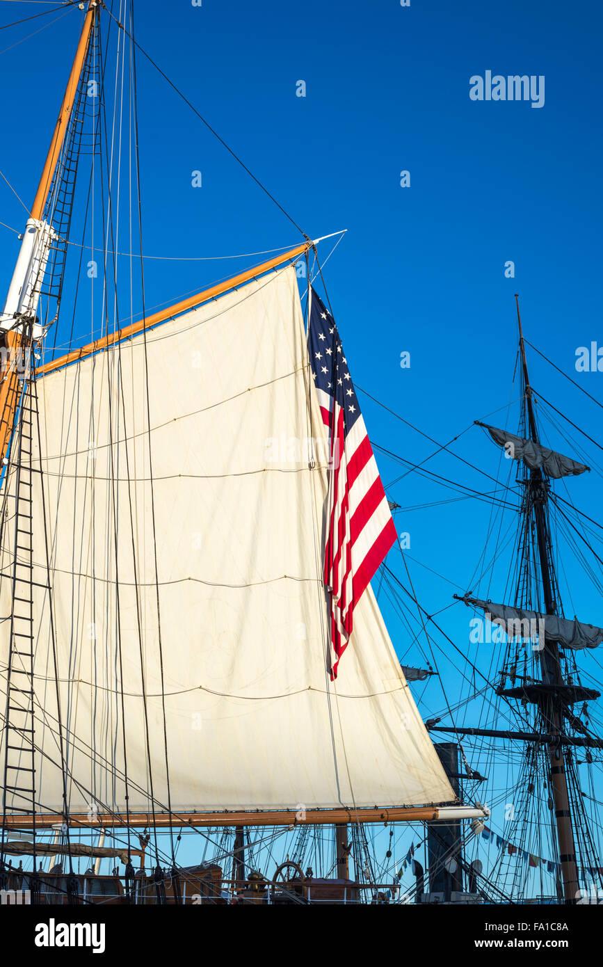 Americn Flag, sail, rigging, ship mast. - Stock Image