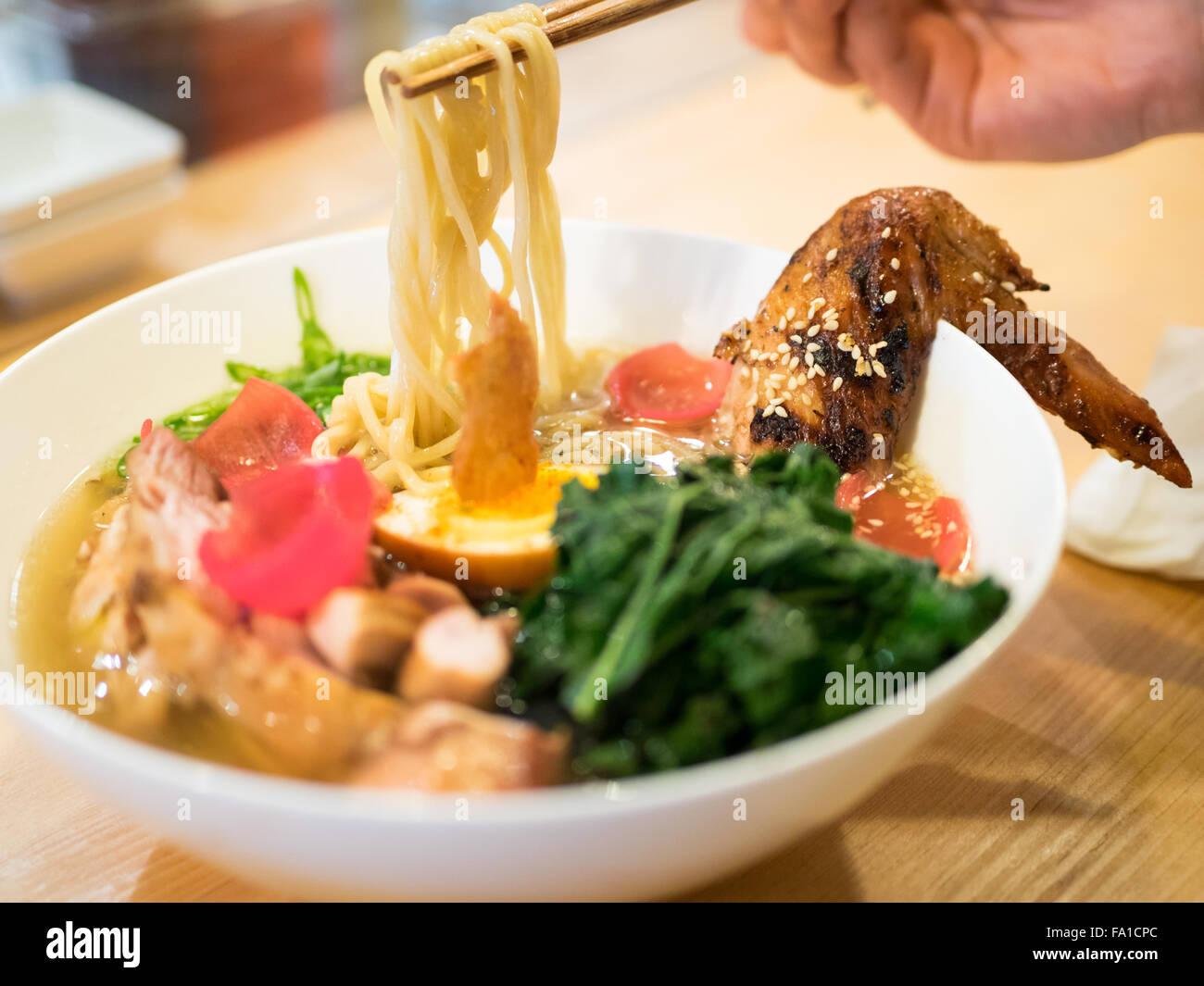 Japanese ramen noodles (roasted barley chicken) from Prairie Noodle Shop in Edmonton, Alberta, Canada. Stock Photo