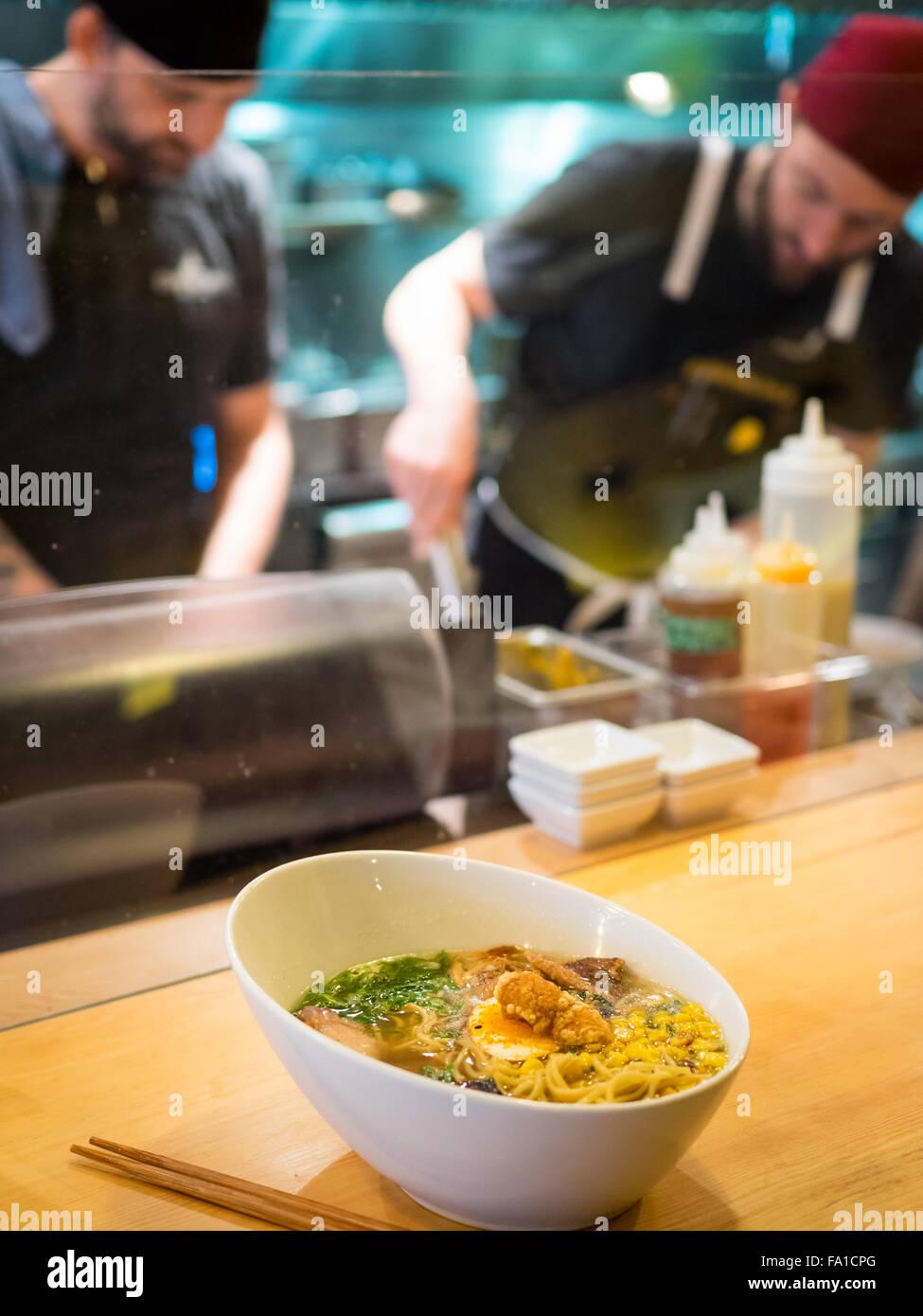 Japanese ramen noodles (prairie pork) from the Prairie Noodle Shop in Edmonton, Alberta, Canada. - Stock Image