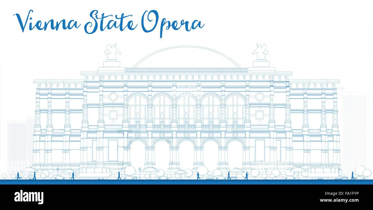 Outline Vienna State Opera. Vector illustration. Business and tourism concept with landmark. Image for presentation, - Stock Vector