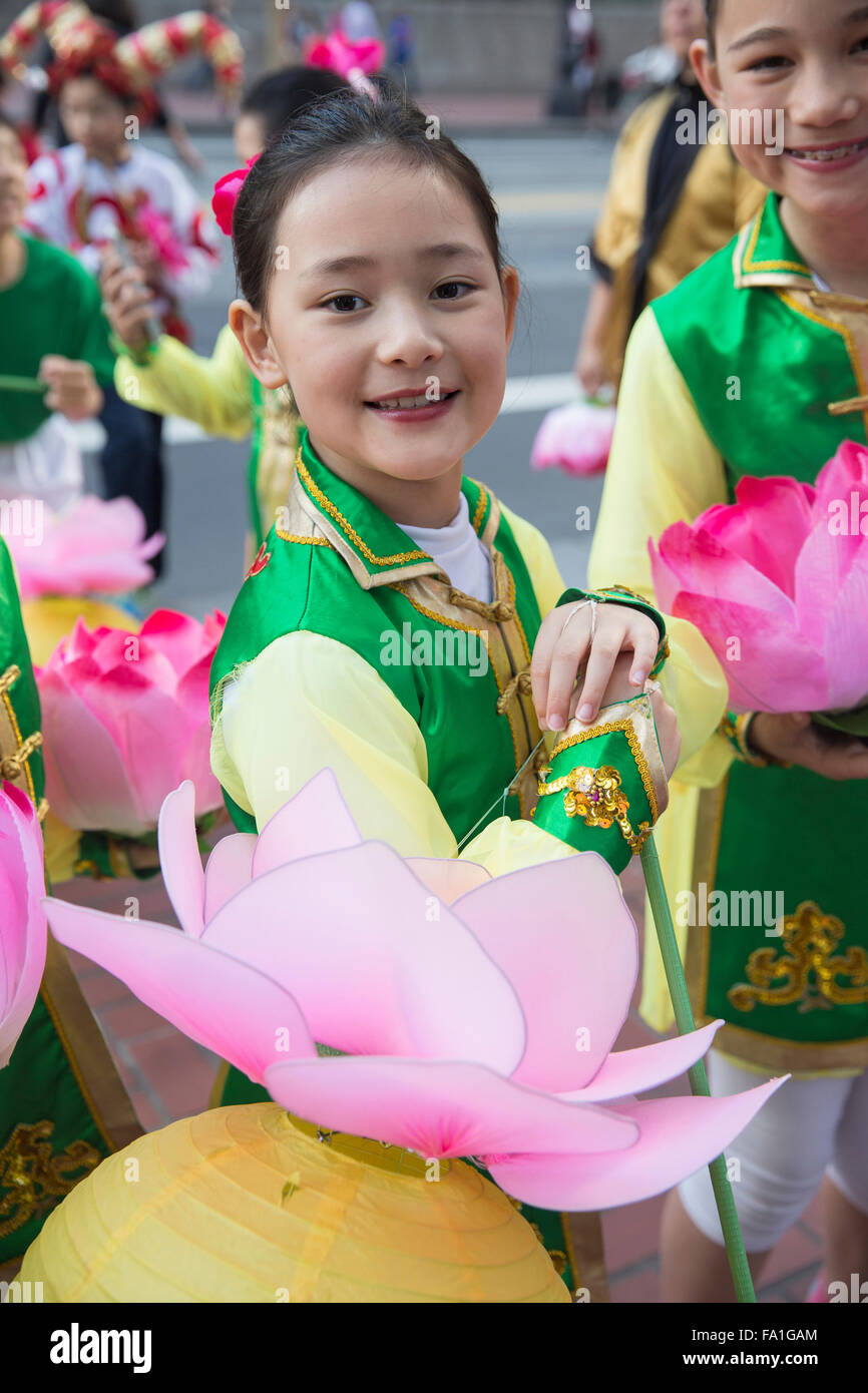 Children dressed in costumes at San Francisco Chinese New Year parade. - Stock Image