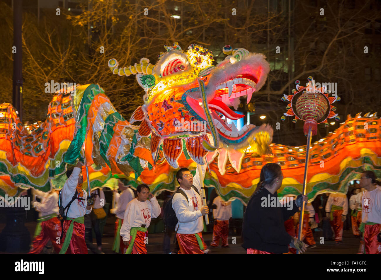 Dragon dance on Market Street at San Francisco's annual Chinese New Year parade - Stock Image