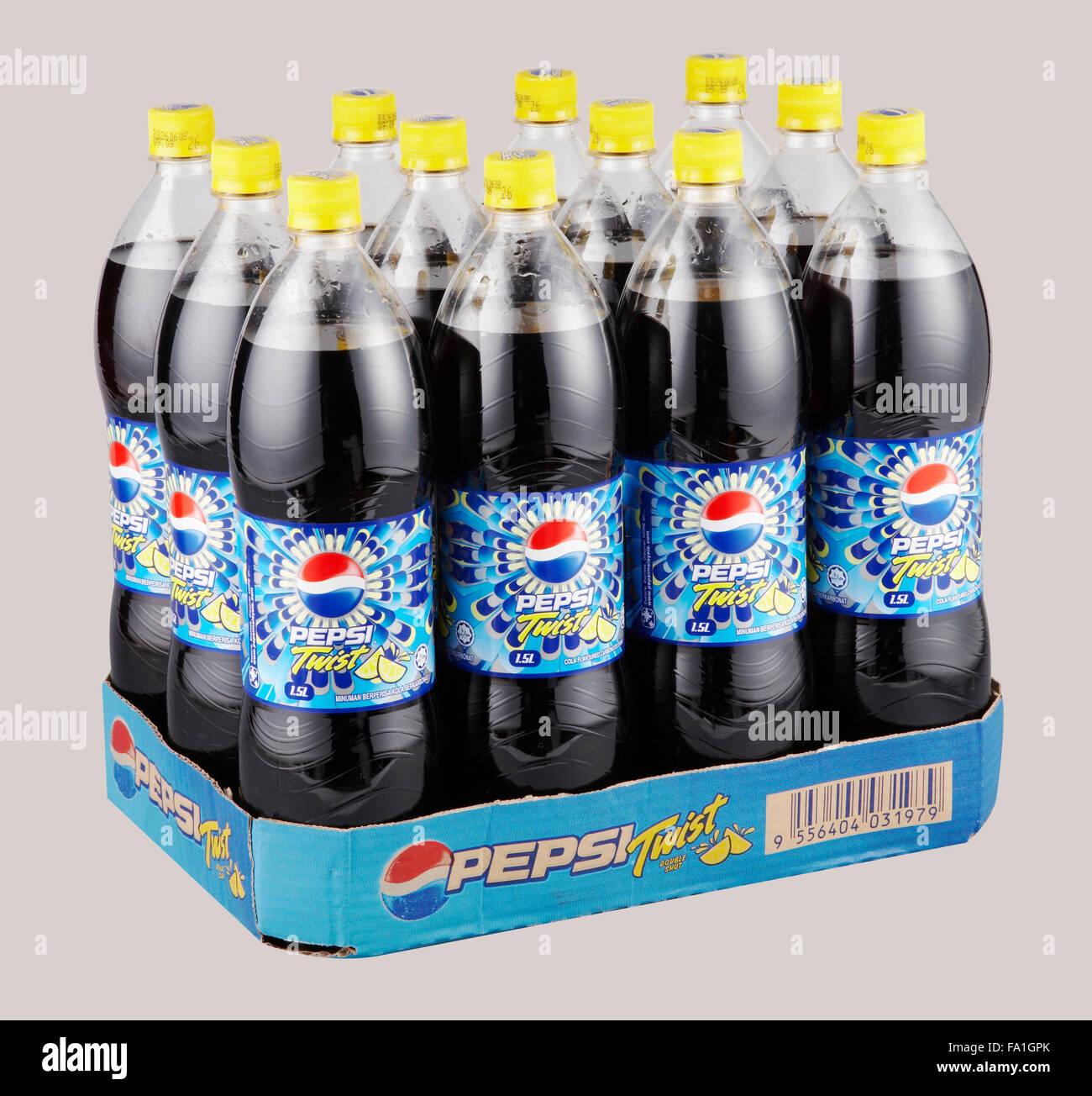 KUALA LUMPUR, MALAYSIA - March 26th 2015  bottles of Pepsi drinks