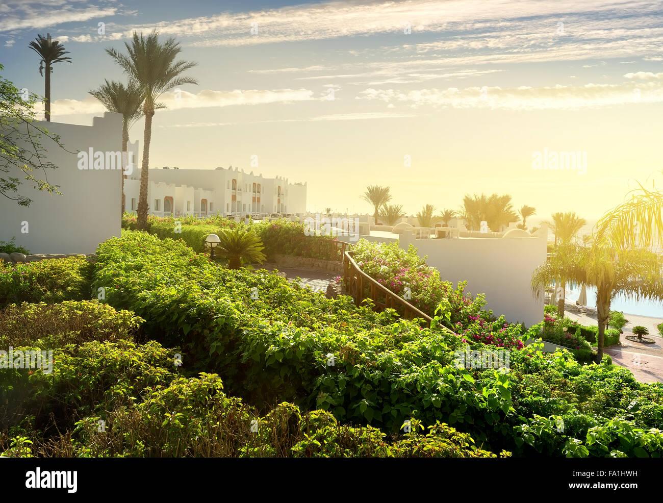 Resort in Sharm el Sheikh at sunrise - Stock Image